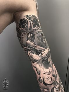 Tattoo Serezha Muste - tattoo's photo In the style Realistic, Male, Religio Half Sleeve Tattoos For Guys, Half Sleeve Tattoos Designs, Best Sleeve Tattoos, Top Tattoos, Forearm Tattoos, Hand Tattoos, Tattoo Designs, Inside Bicep Tattoo, Religious Tattoo Sleeves