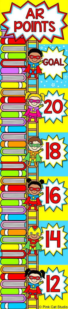 This fun superhero theme accelerated reader clip chart will help encourage your students to meet their AR goals. Your students will be excited to climb the AR points ladder and get to the top of the stack of books! The title and points are editable so the chart will work for any points system. By Pink Cat Studio
