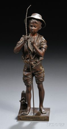 After Adolphe Jean Lavergne (French, Le Pecheur Bronze Sculpture, Sculpture Art, Fairy Statues, Rodin, Fishing Rod, Sociology, Anthropology, Archaeology, Dark Brown