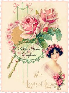 Vintage Valentine With Loads of Love Large от CottageRoseGraphics
