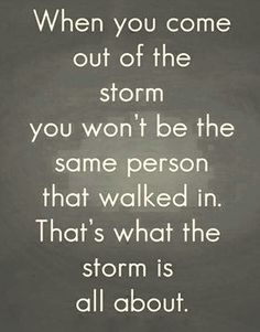 God strengthens us in the storms...He never leaves or forsakes us.