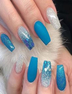 Super Cute Nail Art Ideas for Long Nails In 2019 – Long Nails – Long Nail Art Designs Blue Acrylic Nails, Acrylic Nail Designs, Nail Art Designs, Gradient Nails, Holographic Nails, Matte Nails, Blue Gold Nails, Blue Ombre Nails, Glitter Nail Art