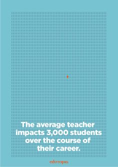 The average teacher impacts 3,000 students over the course of their career. That's a LOT of people!