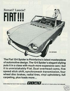 "1970 Ad: FIAT 124 Spider Pininfarina Design ""Ferrari? Lancia? Fiat!!!"" | eBay"