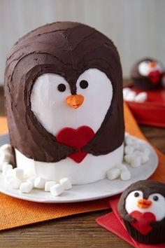 Penguin Heart Cake