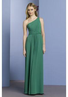 Godness beautiful Chiffon One Shoulder green A-Line bridesmaid dress