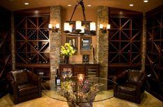 Mediterranean Home wine room Design Ideas, Pictures, Remodel and Decor Wine Theme Kitchen, Kitchen Decor, Kitchen Dining, Unique Wine Racks, Home Wine Cellars, Wine Cellar Design, Wrought Iron Decor, Wine Cabinets, Wine Storage