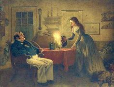 """Illustration of Captain Cuttle and Florence Dombey by Charles Green. """"Dombey and son"""" by Dickens Dombey And Son, Charles Green, Old Houses, Sons, Painting, Florence, Authors, United Kingdom, Art"""