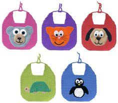 Crochet bibs animals