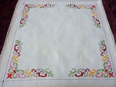 Vintage ecru square tablecloth with Cross Stitch embroidery hand embroidered… Cross Stitch Pillow, Cross Stitch Borders, Cross Stitch Designs, Cross Stitching, Cross Stitch Embroidery, Hand Embroidery, Cross Stitch Patterns, Embroidery Designs, Bargello