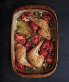 Baked Chicken Legs with Olives and Tomatoes