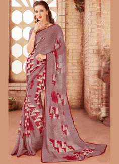 Our online store has a beautiful collection of sarees. Order this immaculate multi colour printed saree for casual.