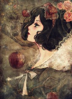 I think Snow White is the prettiest out of all the Disney princesses - not the actual character from the movie, but her description. I love this painting/drawing. It's so classy, but it has a goth twist and she has a really cute anime-ish face.