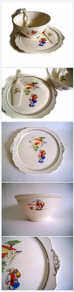 #Vintage #1940's 4 Pc China Cake by MerrilyVerilyVintage on #Etsy https://www.etsy.com/listing/185249226/