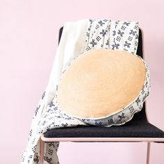 Round Nude Chainstitch Cushion with Monochrome Block Printed Reverse