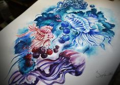 Jellyfish tattoo on sketch (on paper) watercolor by Olga Sosnova