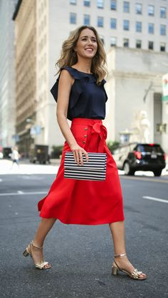 Red sailor style midi skirt with gold buttons, navy ruffle blouse + gold block heel ruffled sandals {marks and spencer}
