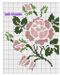 Anaide Вышивка крестом: Графика в вышивки крестом для листов. Cross Stitch Rose, Cross Stitch Flowers, Rosa Stencil, Cross Stitch Designs, Cross Stitch Patterns, Bargello, Needlework, Stencils, Diy And Crafts