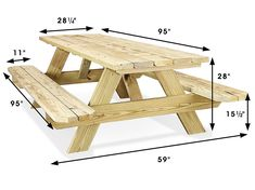 Economy A-Frame Wooden Picnic Table - - UlineYou can find Picnic tables and more on our website.Economy A-Frame Wooden Picnic Table - - Uline Build A Picnic Table, Wooden Picnic Tables, Backyard Picnic, Diy Outdoor Furniture, Home Furniture, Wooden Pallet Furniture, Planer, Woodworking Plans, Woodworking Projects