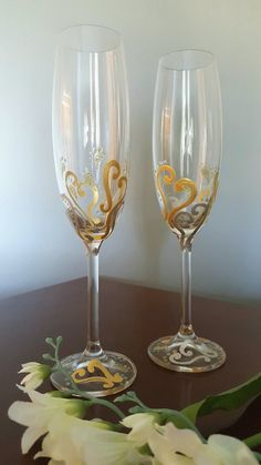 2 Hand Painted Gold & Silver Hearts Champagne Flutes by Jodistuff