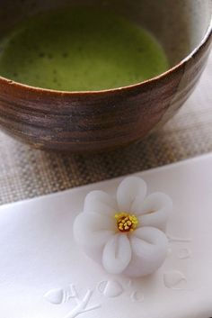 Green MatchaTea and Japanese Sweet Wagashi