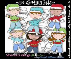 Ice Skating Kids Digital Clip Art, Digital Stamps, Combo Set, Commercial Use, Black & White Image, Instant Download, LineArt, Winter, Child by ResellerClipArt on Etsy