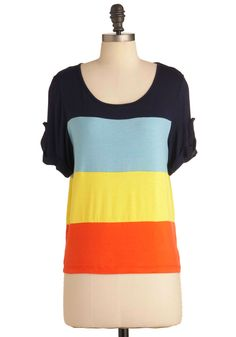 Primary of Your Life Top - Mid-length, Orange, Yellow, Stripes, Buttons, Casual, Short Sleeves, Blue, Black