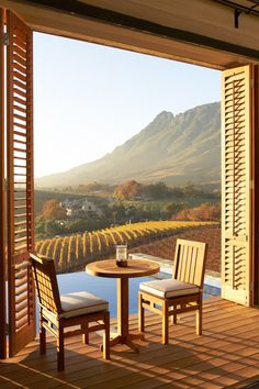 Luxury Lodge View of Winery on Delaire Graff Estate, South Africa