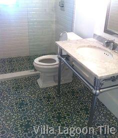 Havana Cantina cement tile bathroom floor. Cuban tile, cement tile.