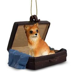 Hand Painted Longhaired Chihuahua Traveling Companion Crafted in a Suitcase