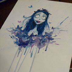 "My old work on the animated film ""Corpse bride"" #timburton #corpsebride #emily #art #aquarelle #illustrated #watercolor #tattoo #illustrator #artist #sketch"