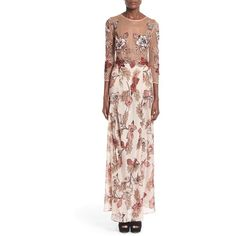 For Love & Lemons 'Sierra' Silk Maxi Dress (2.070 VEF) ❤ liked on Polyvore featuring dresses, pink, pink maxi dress, pink dress, floral maxi dress, three quarter sleeve dress and floral print maxi dress