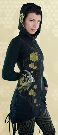 Bamboo Bustle Jacket for women, ethical fashion made in Canada. Printed with sacred geometry, bee, bees, hive medicine art. Ethical Fashion, Womens Fashion, Hemp Fabric, Sustainable Clothing, Bustle, Sacred Geometry, Bees, Hooded Jacket, Organic Cotton