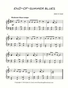 End-of-Summer Blues Free Piano Sheet Music