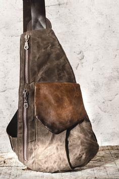 Unisex Gray Leather Waxed Canvas Shoulder Bag US$128.00 #ruthkraus, #bags #backpack #sewingpatterns #designer #saddlebags #shoulderbags #handmade #fashion #style #instafashion #fashionista #summer Woman Fashion, Fashion Fashion, Fashion Bags, Fashion Accessories, Fashion Trends, Leather Bags, Grey Leather, Vintage Leather, Canvas Shoulder Bag