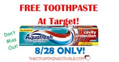 HOT FREEBIE! TODAY ONLY  (8/28) Get Free Aquafresh Toothpaste at Target! Don't miss out!  Click the link below to get all of the details ► http://www.thecouponingcouple.com/free-aquafresh-toothpaste-target-828-only/ #Coupons #Couponing #CouponCommunity  Visit us at http://www.thecouponingcouple.com for more great posts!