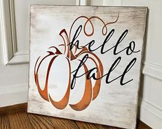 Items similar to Hello Fall Rustic Wooden Sign on Etsy This hand-painted wide by tall hello fall sign is custom made to order. Each sign is custom-designed, distressed, hand-painted, and stained. Since each piece of the sign and frame Fall Wood Signs, Fall Signs, Fall Pallet Signs, Fall Decor Signs, Fall Crafts, Holiday Crafts, Diy Crafts, Fall Craft Fairs, Cork Crafts
