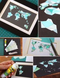 Gingered Things, DIY, Paintchip cards, world map, decoration, wall, Deko, Wanddeko, Farbkarten, Weltkarte