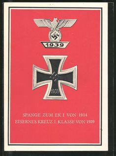 old postcard: AK Spange zum EK I von 1914, Eisernes Kreuz 1.Klasse von 1939