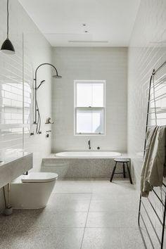 Terrazo Wall Bathroom Ideas - Home of Pondo - Home Design Cottage Bathroom Design Ideas, Bathroom Layout, Modern Bathroom Design, Bathroom Interior Design, Modern Interior Design, Bathroom Ideas, Bathroom Designs, Bathroom Grey, Bathroom Vanities