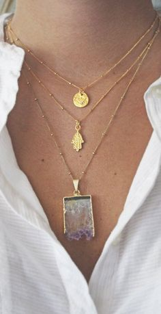 Gold Hamsa Necklace by shopkei on Etsy