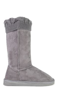 Deb Shops Tall Faux Suede Slipper Boot with Fold Over Sweater Cuff