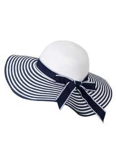 50427b649 Blue And White Stripe Brim Bow Trim Straw Fedora Hat