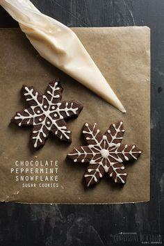 Chocolate Peppermint Snowflake Sugar Cookies from /afotogirl/