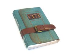 Teal Leather Journal  Hand Bound Notebook by MedievalJourney, $49.00