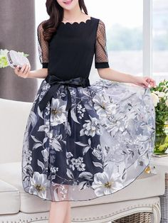 #BerryLook - #berrylook Scallop Neck T-Shirt And Hollow Out Floral Flared Midi Skirt - AdoreWe.com