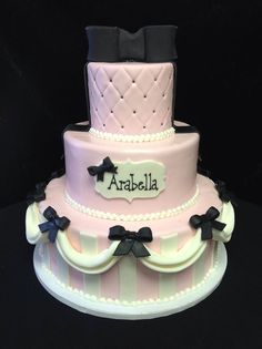 Cookie Jar Bakeshop I Custom Cakes I Birthday Cake I Pink & Black Birthday Cake I Three Tier Cake with Quilt &Stripe details Themed Cake