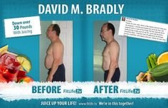 """Hi Drew, Thank you for your note. Here's a few photos that will show you my progress. I recently purchased your Juice Up Your Life program and it is one of the things that has inspired me to make juicing a major part of my life. I juice and do green smoothies daily. I intend to lose 30 additional lbs through juicing, smoothies, and regular exercise. Thanks for your help."" - David M. Bradley"