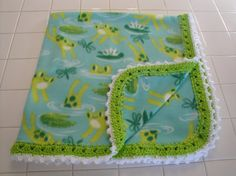 Fleece baby blanket blue and green frogs and by AuntieJenniesAttic
