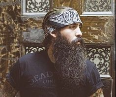 Trig Perez - beautiful full thick long black beard and mustache beards bearded man men mens' street style clothing fashion biker tattoos tattooed natural length bearding #beardsforever